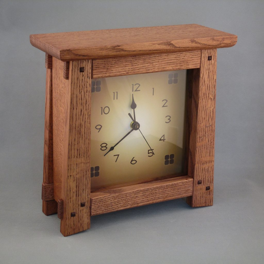 Quarter Sawn Oak Arts & Crafts Clock